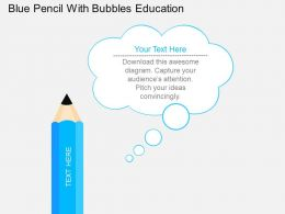 af Blue Pencil With Bubbles Education Flat Powerpoint Design