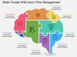 af Brain Puzzle With Icons Time Management Flat Powerpoint Design