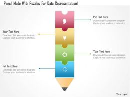 Af Pencil Made With Puzzles For Data Representation Powerpoint Template