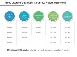 Affinity Diagram For Executing Continuous Process Improvement Ppt Diagrams