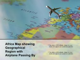 Africa Map Showing Geographical Region With Airplane Passing By
