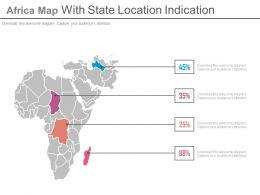 Africa Map With State Location Indication Powerpoint Slides