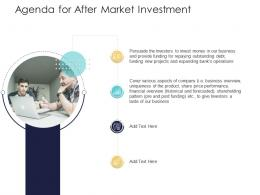 After Market Investment Pitch Deck Agenda For After Market Investment Ppt Powerpoint Sample