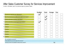 After Sales Customer Survey For Services Improvement