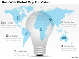 Ag Bulb With Global Map For Vision Powerpoint Template