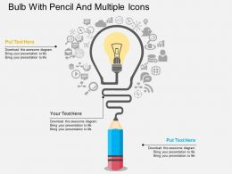 ag Bulb With Pencil And Multiple Icons Flat Powerpoint Design