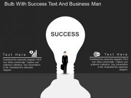 ag Bulb With Success Text And Business Man Flat Powerpoint Design