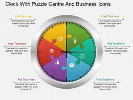 Ag Clock With Puzzle Centre And Business Icons Powerpoint Template