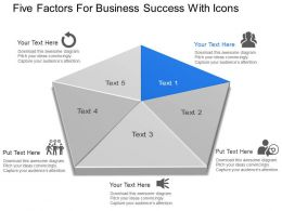 Ag Five Factors For Business Success With Icons Powerpoint Template