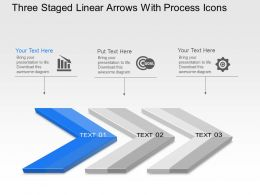 Ag Three Staged Linear Arrows With Process Icons Powerpoint Template Slide