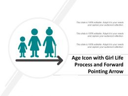 Age Icon With Girl Life Process And Forward Pointing Arrow