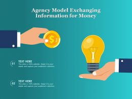 Agency Model Exchanging Information For Money