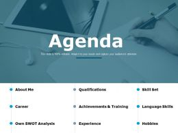 Agenda Career Achievements And Training Ppt Powerpoint Presentation Outline Graphics Example