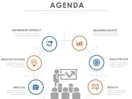 Agenda Design Template With Team Management Theory And Icons Powerpoint Slide
