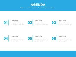 Agenda Diagram With Six Various Business Agendas Powerpoint Slides