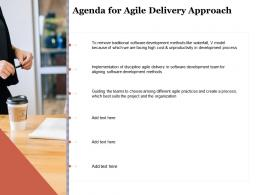 Agenda For Agile Delivery Approach Ppt Clipart