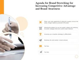 Agenda For Brand Stretching For Increasing Competitive Advantage And Brand Awareness Ppt Powerpoint Icon
