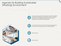 Agenda For Building Sustainable Working Environment Ppt Themes