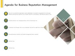 Agenda For Business Reputation Management Ppt Powerpoint Ideas Topics