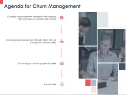 Agenda For Churn Management Ppt Powerpoint Presentation Portfolio Background Images