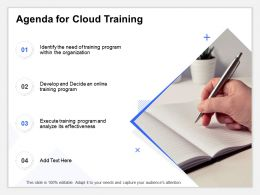 Agenda For Cloud Training Analyze Ppt Powerpoint Presentation Example 2015
