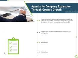 Agenda For Company Expansion Through Organic Growth Ppt Topics