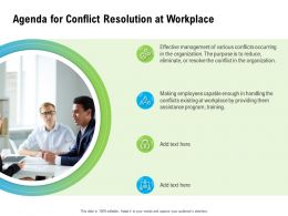 Agenda For Conflict Resolution At Workplace Making Ppt Powerpoint Presentation Infographics Pictures