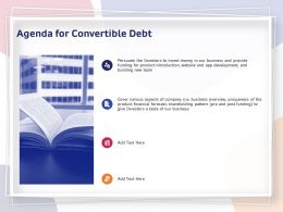 Agenda For Convertible Debt Business Ppt Powerpoint Presentation Professional Clipart