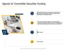 Agenda For Convertible Securities Funding Ppt Powerpoint Presentation Portfolio Ideas