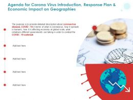 Agenda For Corona Virus Introduction Response Plan And Economic Impact On Geographies