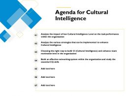Agenda For Cultural Intelligence Enhance M547 Ppt Powerpoint Presentation Portfolio Tips