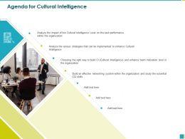 Agenda For Cultural Intelligence Essential Skills Ppt Powerpoint Presentation Diagram Templates