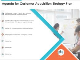 Agenda For Customer Acquisition Strategy Plan Managing Ppt Presentation Layout
