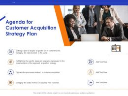 Agenda For Customer Acquisition Strategy Plan Ppt Presentation Icon Guide