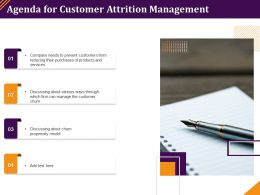 Agenda For Customer Attrition Management Propensity Model Ppt Powerpoint Graphics