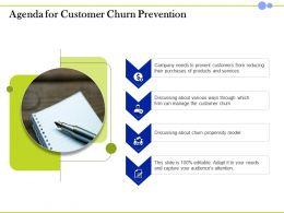 Agenda For Customer Churn Prevention Propensity Model Ppt Presentation Sample