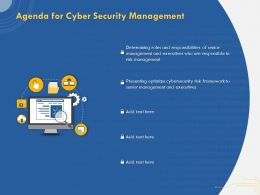Agenda For Cyber Security Management Senior Executive Ppt Presentation Good