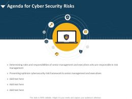 Agenda For Cyber Security Risks Optimize Ppt Powerpoint Presentation Visuals
