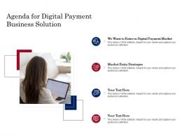 Agenda For Digital Payment Business Solution Ppt Powerpoint Presentation Layouts Example