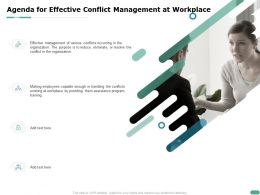 Agenda For Effective Conflict Management At Workplace Providing Them Ppt Powerpoint Presentation Files