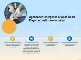Agenda For Emergence Of AI As Game Player In Healthcare Industry Sector Ppt Powerpoint File