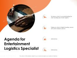 Agenda For Entertainment Logistics Specialist Custom N117 Powerpoint Presentation Example Topics