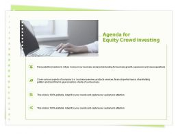 Agenda For Equity Crowd Investing Various Aspects Ppt Powerpoint Presentation Diagram Ppt