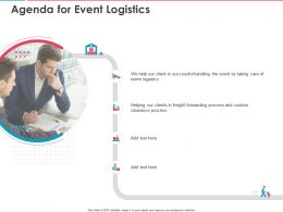 Agenda For Event Logistics Ppt Powerpoint Presentation Outline Aids