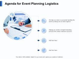 Agenda For Event Planning Logistics Clients Ppt Powerpoint Presentation Format
