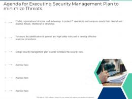 Agenda For Executing Security Management Plan To Minimize Threats Ppt File Graphics