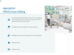 Agenda For FMCG Cross Selling Ppt Powerpoint Presentation Layouts