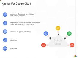 Agenda For Google Cloud Google Cloud IT Ppt Brochure Background