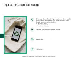 Agenda For Green Technology Sustainable Solutions Ppt Powerpoint Styles