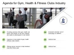 Agenda For Gym Health And Fitness Clubs Industry Ppt Powerpoint Presentation Infographics